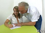 Old teacher is lovely babe's chaste pussy