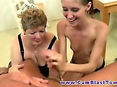 Handjob trio with milf and petite teen tugging