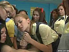 Schoolgirl Rides Until He Cums
