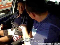 Slutty Brunette girl on highway