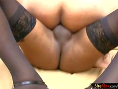 Ebony tranny babe with tight curvy ass is riding monstercock