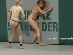 Teen lesbians in tiny lingerie fight