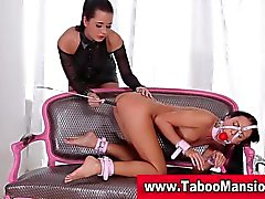 Bound slut pussy licked and toyed with riding crop