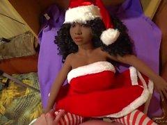 POV, Fucking Santa Claus girl, Темная кукла с большими сиськами