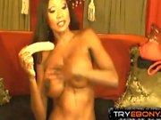Black pornstar Diamond Jackson loves her adult-toys