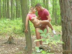 Dane Jones Outdoor fuck in public young lovers find perfect tree to fuck on