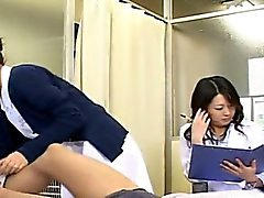 Subtitled CFNM Japanese milf doctor and nurse handjob
