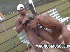 Marcelo Martins und Poax Hoffin: Muskel auf Muskel OutDoor rektale Session