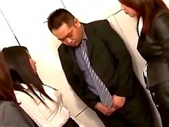 4 Office Ladies Stripping Shy Guy Rubbing Cock