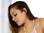 Beautiful brunette teen Zoey Foxx massages a lucky dick