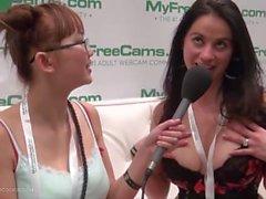 Flexible webcam model Jacquey Azul of MFC talks with HarrietSugarcookie AVN