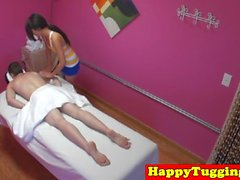 Petite asian masseuse jerks client for cash