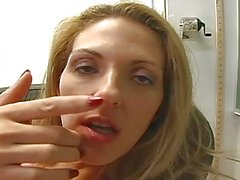 Hot blonde teacher toys her meat hole