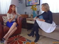 Kendra James mind controls lesbian babe and tongue fucks her