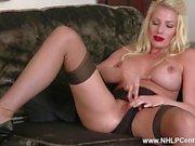 Busty blonde slut Danielle Maye strips off lingerie and wanks in RHT nylons