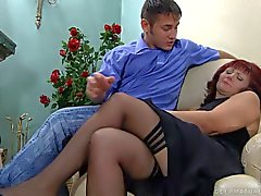 Mature redhead banged in the ass