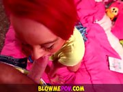 Blow Me POV - Getting my 3 Hot Tatooed Cousins to Blow my Di