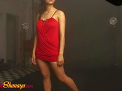 Sexy Indian Model Babe Shanaya In Red Top Giving Hot Poses On Camera