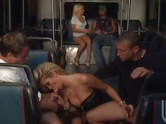 Angelina and Jessica are so horny they prepare an entire bus to fuck