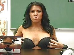 Busty MILF teacher masturbating in sexy lingerie and stockings