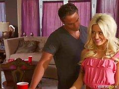 Slutty stacked MILF blonde Helly Mae Hellfire pleasing a guest