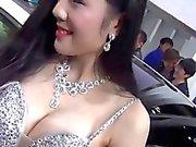 Chinese car show girl nipple slip