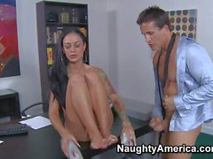New brunette secretary Angelina satisfies her boss