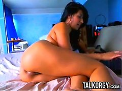 Tattooed Latina Perfect Ass Toying On Webcam