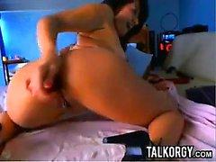 Tattooed Latina Perfect Ass Toying Auf Webcam