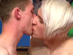 Tattoo twinks threesome with facial cum