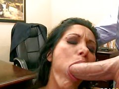 Filthy hot Ava Addams is calming an angry cock in her mouth with pleasure