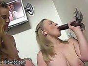 Gloryhole black cock blowjob cum swallow
