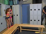 Threesome act in the locker room