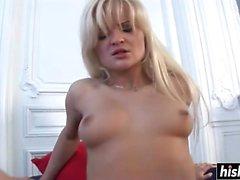 Blonde in fishnets gets a big penis
