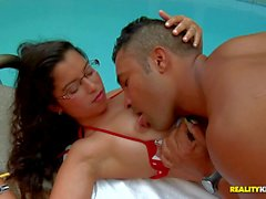 Latina hottie Jessycah in red bikini has sex fun by the pool
