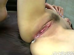 Phat assed Misato Sakurais pussy is toyed doggie style before a dick fills it with cream