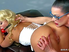 Ball gagged cutie Alexis Monroe gets used by Lesbian brunette