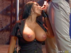 Big titted milfy lady cop Ava Addams gets face fucked