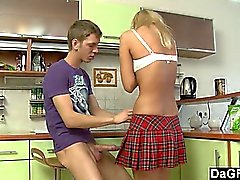 Young schoolgirl gets ass fucked before going to school