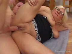 Chubby Granny Get Glasses Creamed On