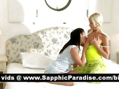 Naughty brunette and blonde lesbos kissing and licking nipples and having lesbo sex