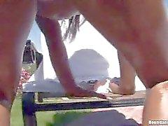 Hot Ass black babes tease in backyard