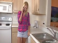 Cute Teen Handjob In The Kitchen