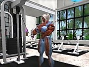 Muskel-Mädchen-Training in Second Life