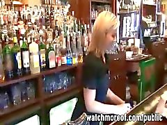 Red hot bartender chick gets fucked during her work so she can earn extra money