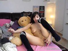 Сексуальная брюнетка Camgirl теребят на веб-камера