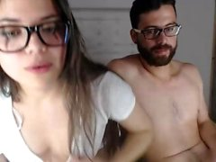 Webcam amateur swallows mouthful of cum after blowjob