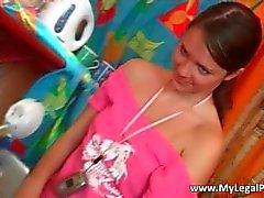 Cute brunette teen loves stripping part1