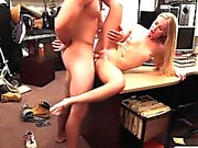 Skinny blonde babe drilled by pawn guy at the pawnshop
