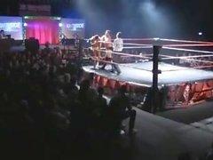 Irish Muscle Wrestler in Gold-Trunks vs Chunky Heel tatted